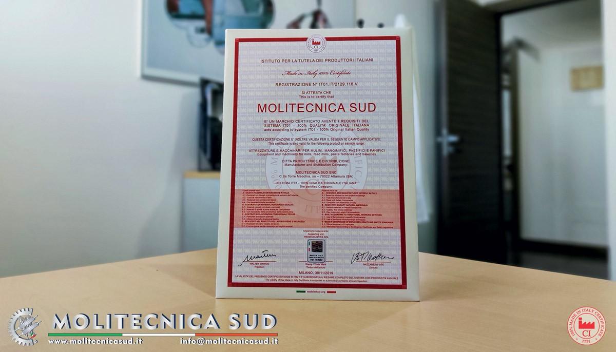 Molitecnica Sud certificata Made in Italy 100%